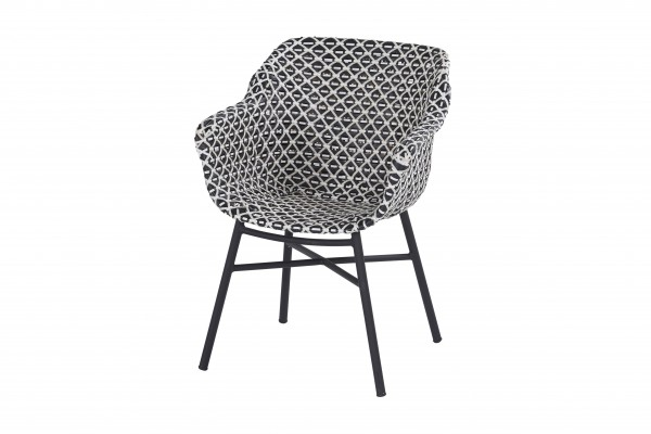 Hartman Delphine Diningsessel Aluminium/Geflecht schwarz weiß