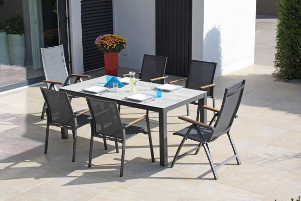 6x Zebra Bee Stapelsessel graphite/carbon grey + 1x Zebra Alus Tisch 160 x 90 cm graphite/scratched
