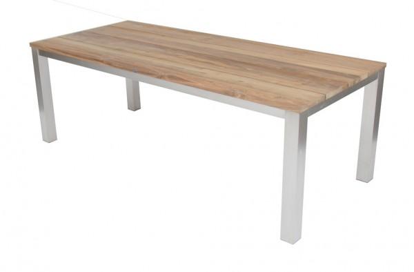 Green Tisch 220 x 95 cm Edelstahl / Teak massiv gebürstet