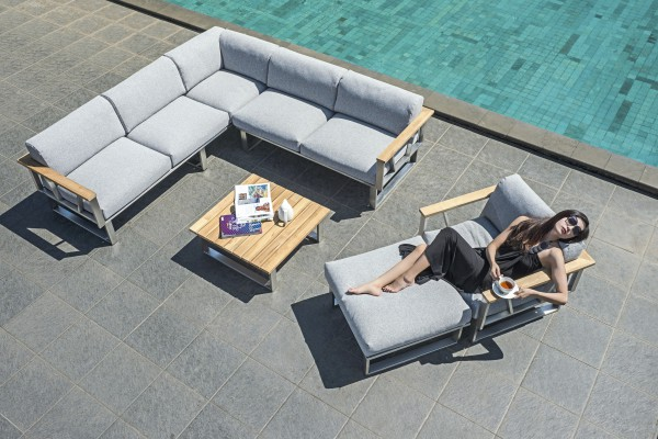 Zebra Belvedere Lounge Set 5-teilig inkl. Kissen Olefin grey