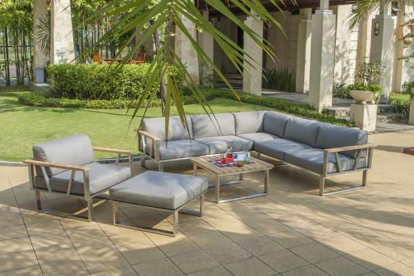 Zebra Belvedere Lounge Set 5-teilig inkl. Kissen Tuvatextil® wetterfest (1x 3-Sitzer Sofa, 1x 2-Sitzer Sofa, 1x Loungetisch, 1x Lounge Sessel, 1x Lounge Hocker)