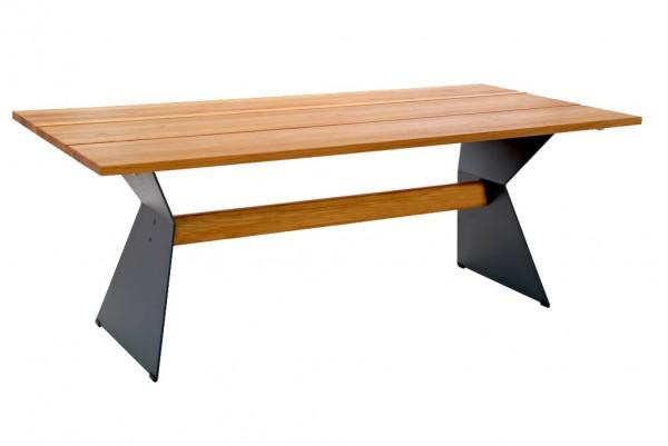 Niehoff Nero Tisch 200 x 95 cm Teak gebürstet mit Winkelwange schwarz