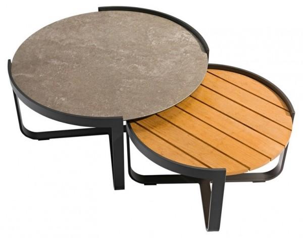 Zebra Fly Lounge 2er Tischset mit Tischplatten aus Teak und Glas/Keramik