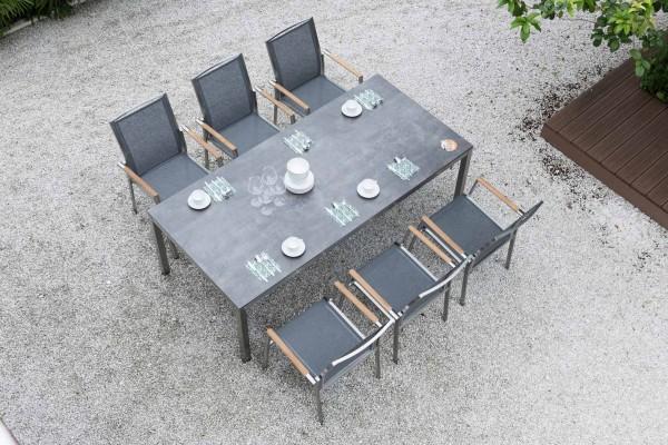 Zebra Opus Tisch mit Sela/HPL-Platte beton dunkel + Edelstahlgestell 210 x 100 cm