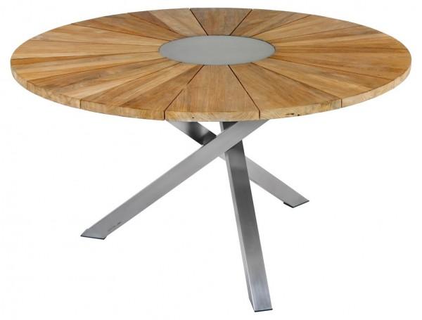 Zebra Oryx Tisch rund 135 cm recyceltes Teak/Edelstahl