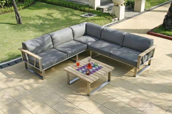 Zebra Belvedere Lounge Set 3-teilig inkl. Kissen Tuvatextil® wetterfest (1x 3-Sitzer Sofa, 1x 2-Sitzer Sofa, 1x Loungetisch)