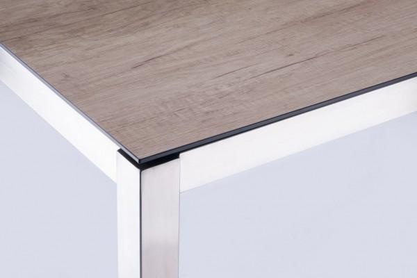 Zebra Opus Tisch mit Sela/HPL-Platte wildeiche + Edelstahlgestell 180 x 100 cm