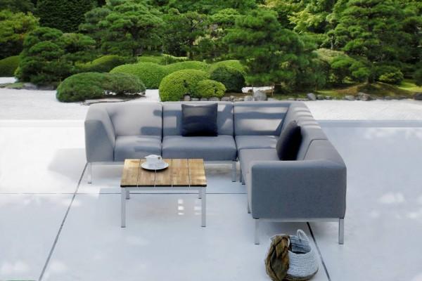 Zebra Bellevue Lounge Eckkombination inkl. Kissen Tuvatextil® wetterfest + Edelstahlgestell