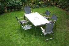 Zebra Opus Tisch mit Sela/HPL-Platte sandstein + Edelstahlgestell