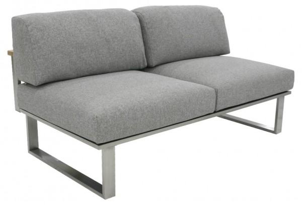 Zebra Belvedere Lounge Mittelteil 2-Sitzer ohne Armlehne inkl. Kissen Olefin grey