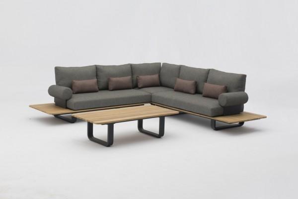 Zebra Park Lounge Set 4-teilig inkl. Olefin-Kissen sutton grey + Dekokissen + Armlehnen