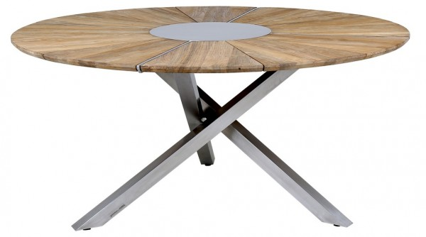 Zebra Oryx Edge Tisch rund 160 cm Edelstahl / recyceltes Teak