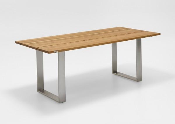 Niehoff Noah Tisch 200 x 95 cm mit Edelstahl Profilkufe und Teak gebürstet