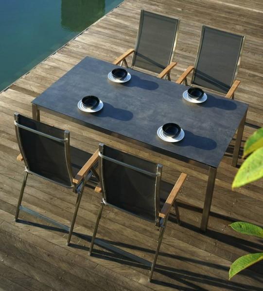 Zebra Opus Tisch 180 x 100 cm Edelstahlgestell mit HPL-Platte beton dunkel + One Hochlehner dark grey (optional)