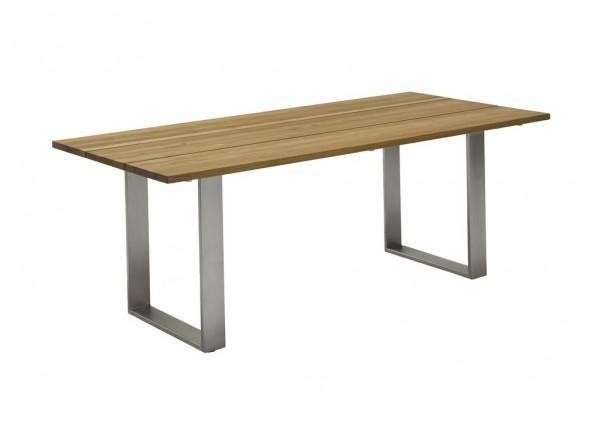 Green Kufentisch 180 x 95 cm mit Edelstahl Profilkufe und Teak gebürst18