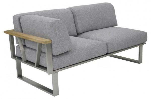 Zebra Belvedere Lounge Sofa 2-Sitzer Armlehne links inkl. Kissen Olefin grey
