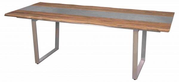 Zebra Unyx Tisch 220 x 100 cm mit Edelstahl Profilkufe und Teak recycelt