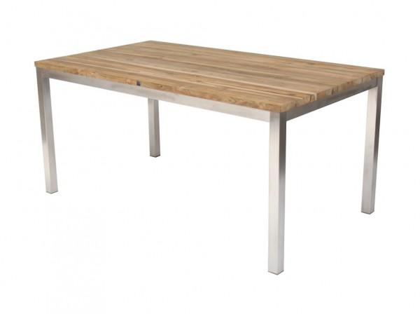 Green Tisch 160 x 90 cm Edelstahl / Teak massiv gebürstet