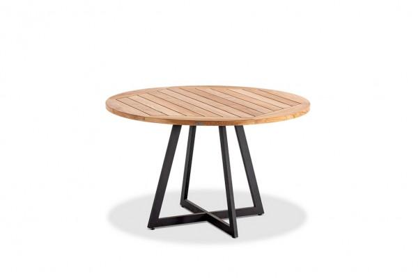 Niehoff Milan Tisch rund 125 cm Stahl anthrazit / Teaktischplatte