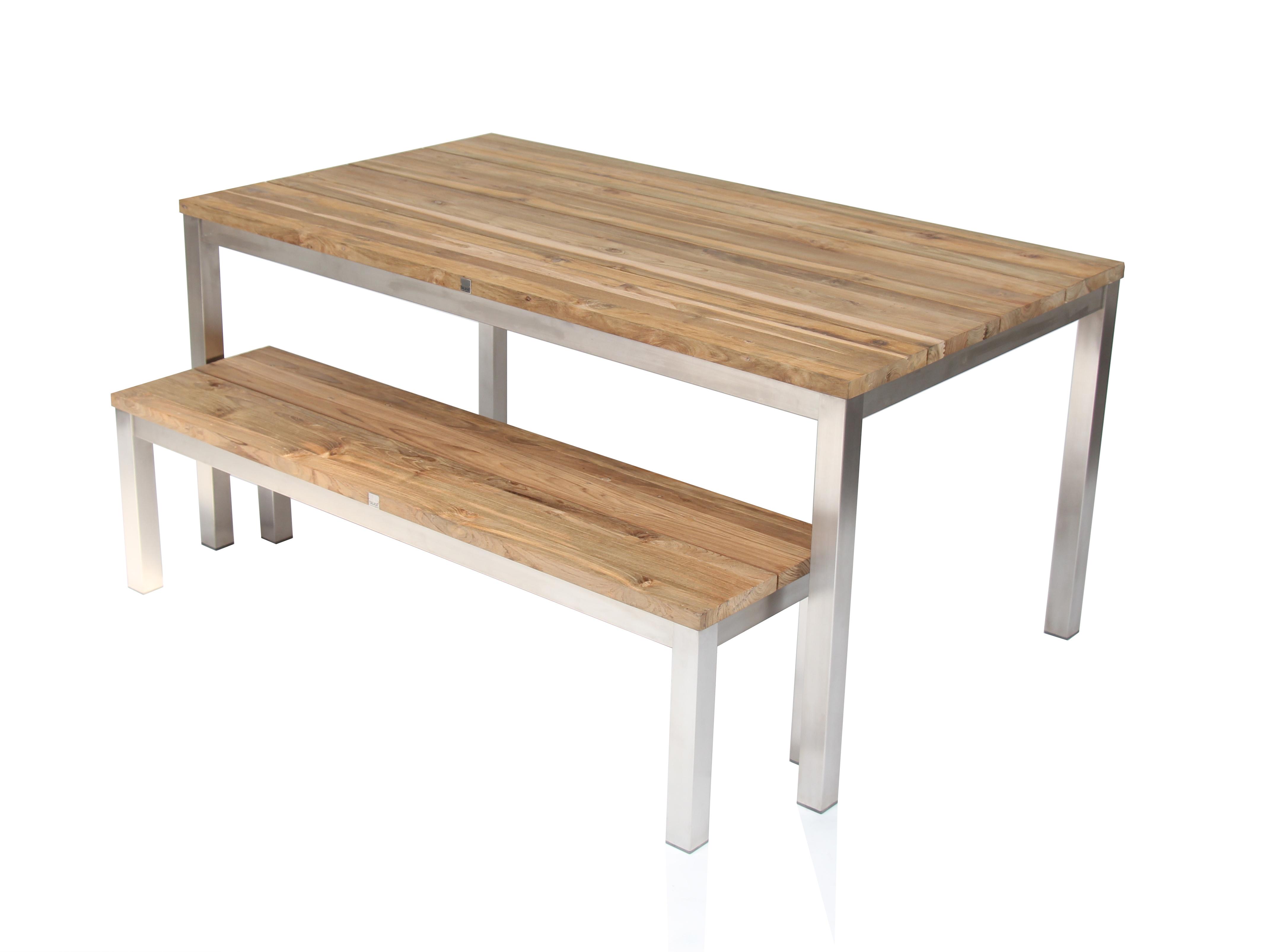 Green Tisch 160 X 90 Cm Edelstahl Recyceltes Teak Talaso
