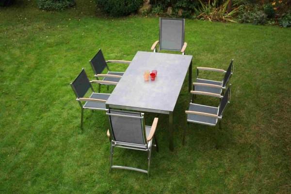 Zebra Opus Tisch mit HPL-Platte scrached grey + Edelstahlgestell 180 x 100 cm