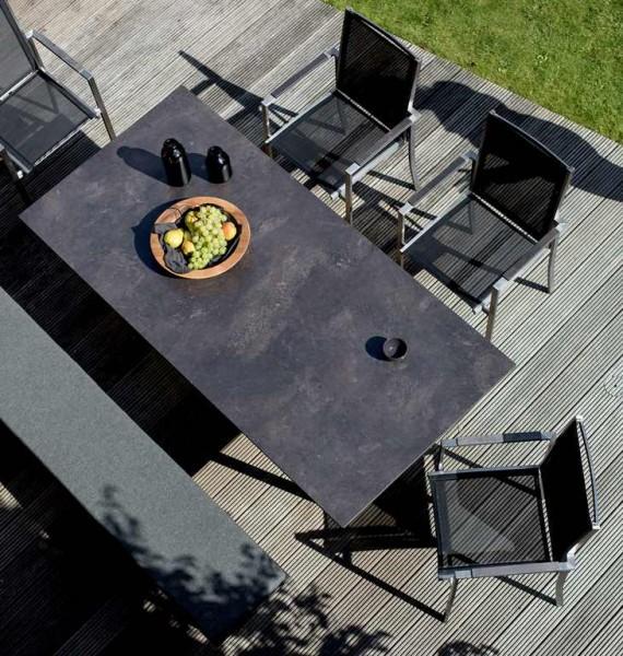 Niehoff Noah Tisch 200 x 95 cm HPL-Tischplatte grau + Edelstahl Profilkufe
