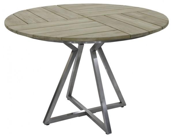 Zebra Triangle Tisch Edelstahl / Teaktischplatte rund 110 cm
