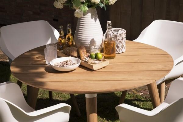 Hartman Sophie Studio Tisch rund 120cm Teak mit weißen Akzenten - Detailansicht