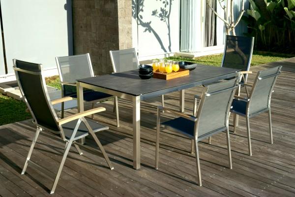 Zebra Opus Tisch Edelstahl mit HPL-Tischplatte und One Sessel (optional)