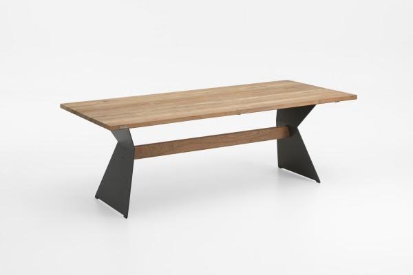 Niehoff Nero Tisch 200 x 95 cm Teak recycelt mit Winkelwange schwarz