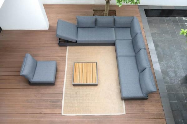 Zebra Cubo Lounge Set 4-teilig inkl. Kissen Olefin dark grey (hier gezeigt mit zusätzlichem Lounge Sessel)