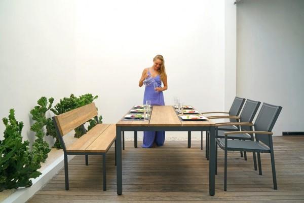 Zebra Gartenmöbel Set Alex/Fly 5-teilig Aluminium/Teak recycelt