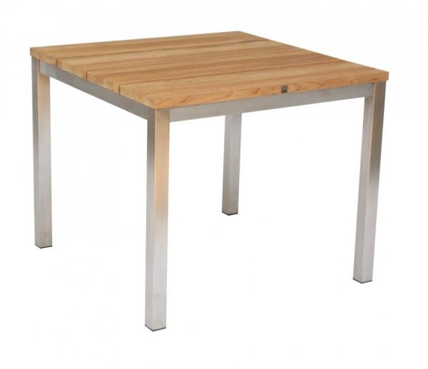 Green Tisch 90 x 90 cm Edelstahl / Teak massiv gebürstet
